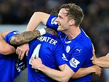 1st March 2016 - Barclays Premier League - Leicester City v West Bromwich Albion - Daniel Drinkwater of Leicester (2L) celebrates with teammates Andy King (2R) and Shinji Okazaki (R) after scoring their 1st goal - Photo: Simon Stacpoole / Offside.