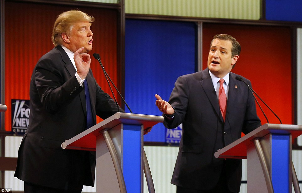 Cruz suggested he was 'lying to the American people' about what he would do as president;'You're the lying guy up here. You're the liar, lying Ted,' Trump fired back