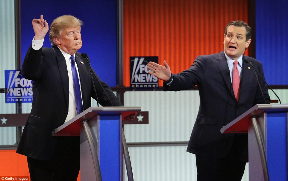 As Trump sparred with Cruz on his use of foreign workers at his Palm Beach hotel, Cruz tried to put him in a time out. 'Learn not to interrupt, Donald. It's not complicated. Count to ten. Count to ten'