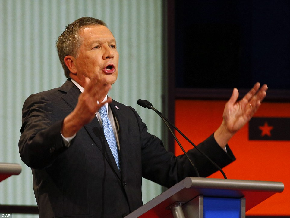 Next to go? John Kasich, who is in fourth place in polls, is attempting to position himself as the 'adult in the room'
