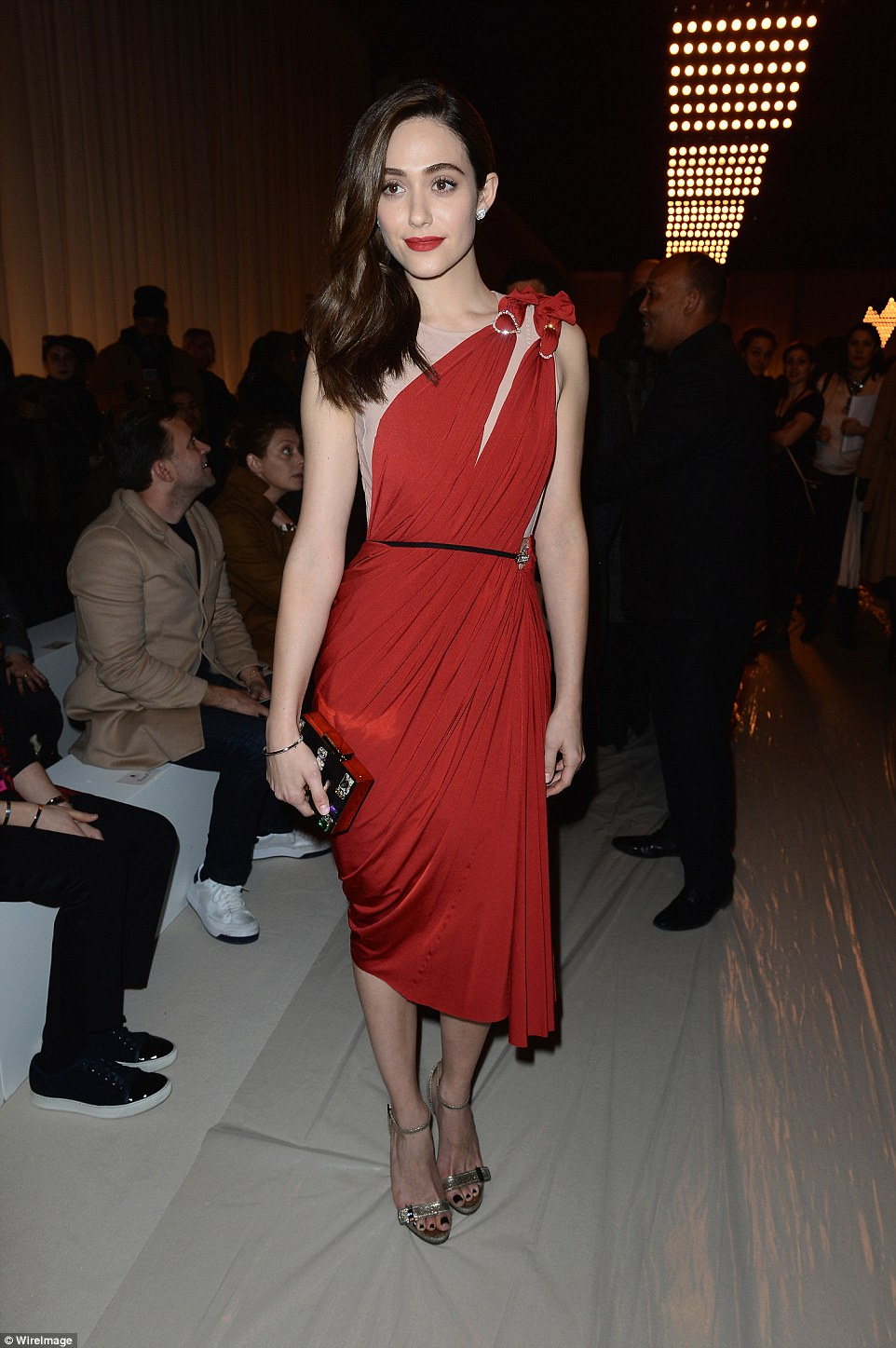 Pulling out the stops: The screen siren was bound to turn heads as she posed up a storm in an intricately crafted gown that was perfect for highlighting her slender silhouette