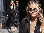 March 3, 201: Pregnant Chrissy Teigen & John Legend are seen stepping out on a chilly day in NYC, with they're pooch friend.\nMandatory Credit: Peter Cepeda/INFphoto.com Ref.: infusny-259