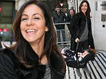 Julia Bradbury arriving at BBC Radio Two with her twin daughters to appear on Chris Evans Breakfast show - London  4 March 2016. Please byline: Vantagenews.com UK clients should be aware children's faces may need pixelating.