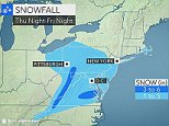 Weather maps showing light snowfall in the Northeastern US