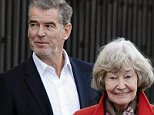 MADRID, SPAIN - MARCH 02:  Pierce Brosnan and his mother May Smith are seen after the set filming of a commercial on March 2, 2016 in Madrid, Spain.  (Photo by Europa Press/Europa Press via Getty Images)