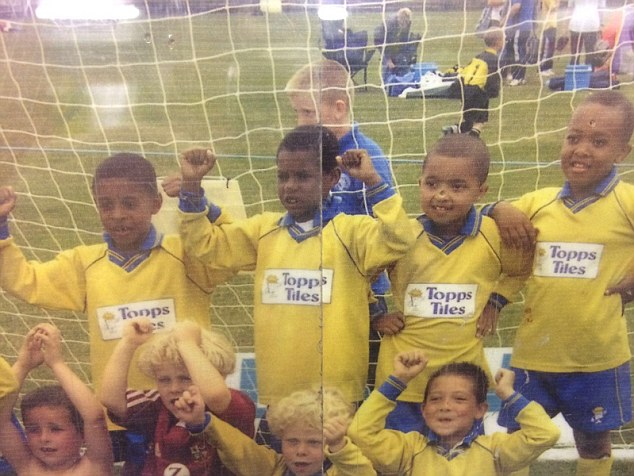 Rashford (centre, top row) pictured as a six-year-old before going on to become a professional player