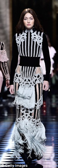 Work it: Kendall Jenner, Karlie Kloss and Gigi Hadid wowed inOlivier Rousteing's statement designs on the runway, teamed with wigs
