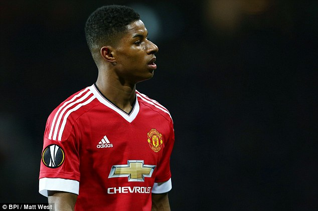 Rashford of Manchester United pictured during their Europa League round-of-32 tie on Thursday