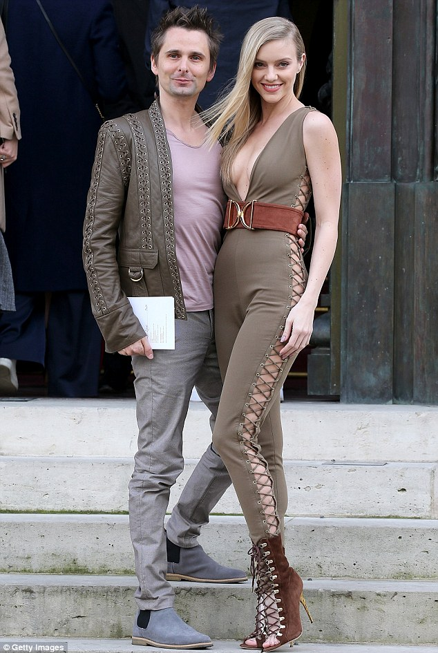 Those who dress together:Matt, 37, and Elle, 26, colour coordinated for their fashionable day out