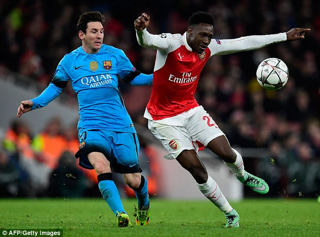 Welbeck, in action for Arsenal against Barcelona on Tuesday, played for the same junior club as Rashford