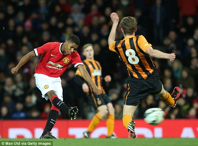 Rashford pictured playing for Manchester United's Under-18 side against Hull City in the FA Youth Cup