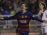 Barcelona's Lionel Messi celebrates after scoring his side's third goal against Rayo Vallecano during a Spanish La Liga soccer match between Barcelona and Rayo Vallecano at the Vallecas stadium in Madrid, Thursday, March 3, 2016. (AP Photo/Francisco Seco)