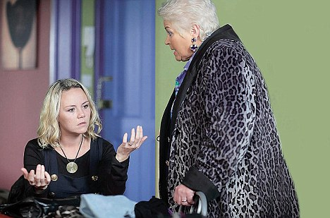 Drama: In EastEnders, Janine is prevented from carrying out a murder by the arrival of Pat, to whom she confesses all
