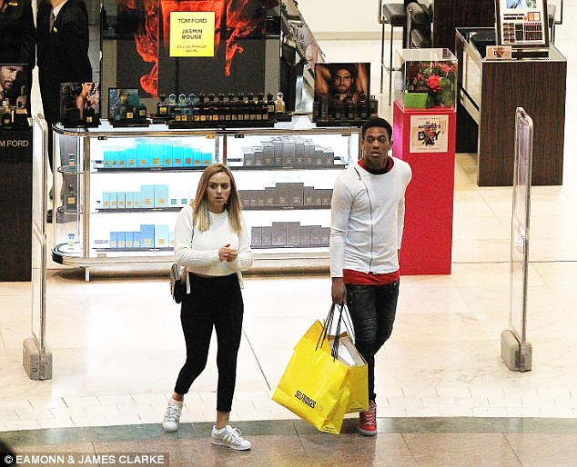 The 20-year-old forward and his wife then headed to Selfridges where he bought three designer handbags