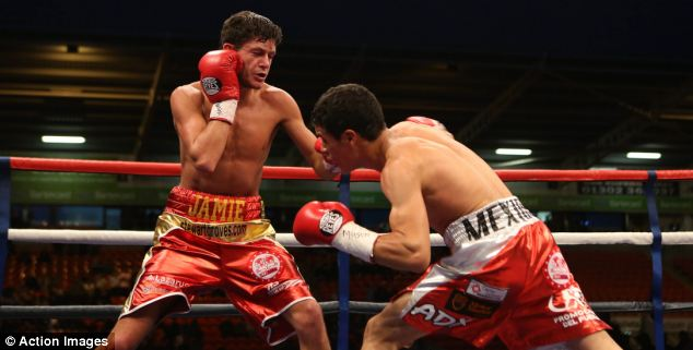 Battle: Ceja struggled in his maiden overseas fight in the cold outdoors of South Yorkshire