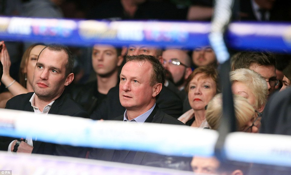 Northern Ireland manager Michael O'Neill (right) was among the famous faces in the crowd to watch this highly-anticipated bout