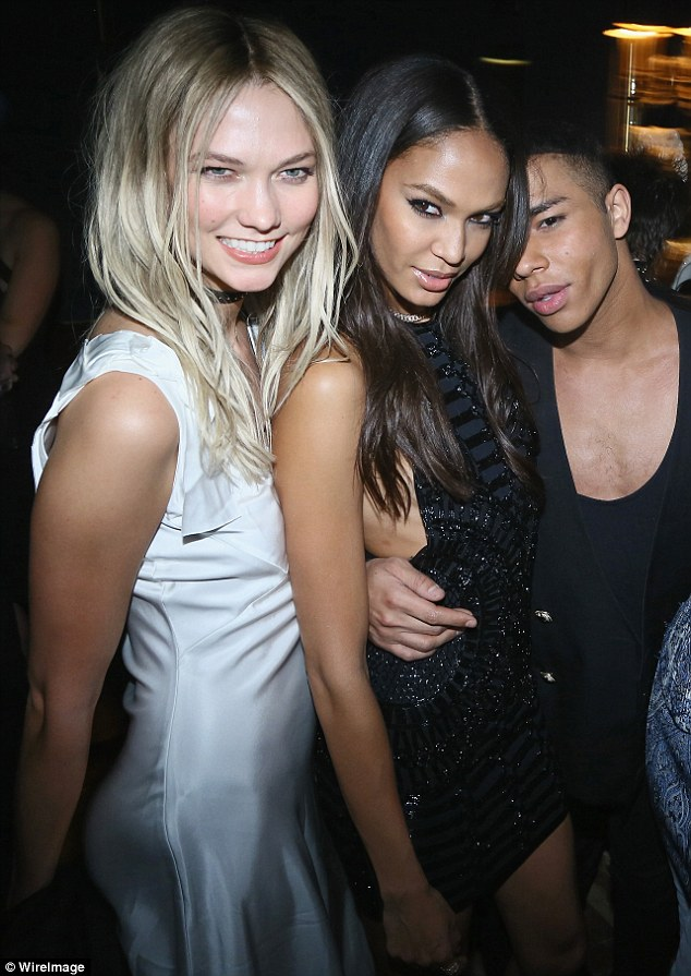 The star:Karlie Kloss and Joan Smalls fawned over the designer Olivier Rousteing