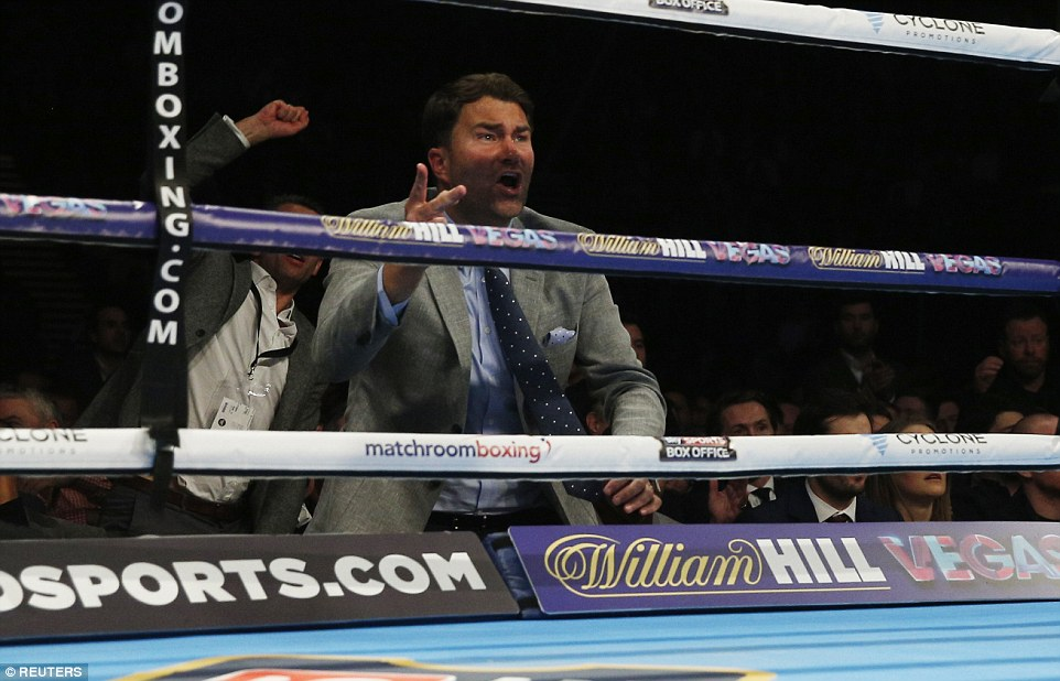 Sportsmail columnist and Quigg's promoter Eddie Hearn watches on as his fighter rallies late on against Frampton