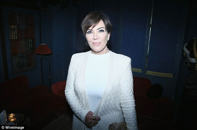All white: Kris Jenner showed off her pristine, head-to-toe white look at the style bash
