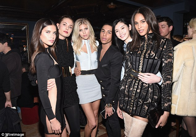 Lovely ladies: (From left) Sara Sampaio, Devon Windsor, Olivier Rousteing, Ming Xi and Cindy Bruna were perfection
