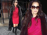 March 4, 2016:Padma Lakshmi photographed in the Soho section of New York City wearing a red dress.\nMandatory Credit: INFphoto.com Ref.: infusny-279/293