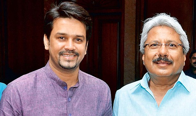 BJP Anurag Thakur (left) is pictured at the launch with tycoon Sunil Alagh