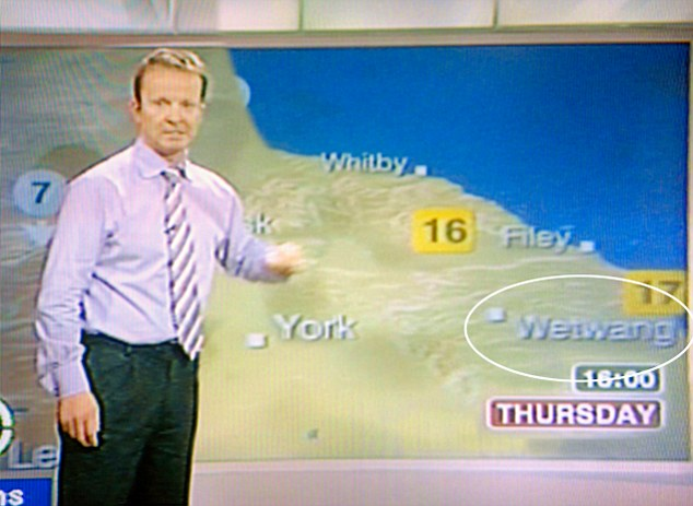 Dry humour: BBC Yorkshire weatherman Paul Hudson reveals the weather for Wetwang