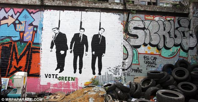 How the election campaign has been interpreted by one street artist, believed to be Banksy, in Hackney Wiick, East London