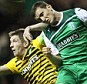 Cottage calling: Hibernian's Paul Hanlon and Celtic's Mark Wilson are wanted at Fulham