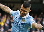 """Football Soccer - Manchester City v Aston Villa - Barclays Premier League - Etihad Stadium - 5/3/16  Sergio Aguero celebrates after scoring the second goal for Manchester City  Action Images via Reuters / Jason Cairnduff  Livepic  EDITORIAL USE ONLY. No use with unauthorized audio, video, data, fixture lists, club/league logos or """"live"""" services. Online in-match use limited to 45 images, no video emulation. No use in betting, games or single club/league/player publications.  Please contact your account representative for further details."""
