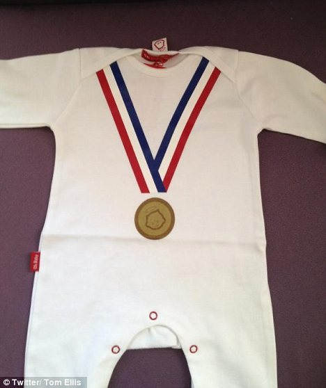 How adorable: Tom Ellis tweeted this snap of a Olympic-themed romper suit for their new addition