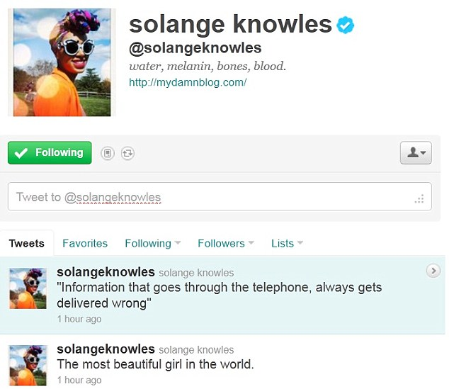 Proud aunty: Beyonce's younger sister Solange tweeted about Blue's arrival on her Twitter page on Sunday