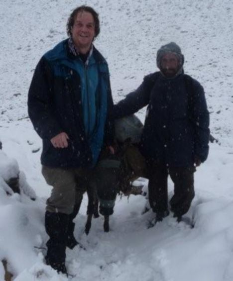 Paul Pickering with his 'donkey man' in Afghanistan