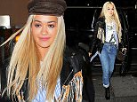 EXCLUSIVE: Rita Ora rocks a fringe leather jacket with a David Bowie t-shirt underneath as she heads to watch Hamilton on Broadway, NYC  Pictured: Rita Ora Ref: SPL1240562  040316   EXCLUSIVE Picture by: Splash News  Splash News and Pictures Los Angeles: 310-821-2666 New York: 212-619-2666 London: 870-934-2666 photodesk@splashnews.com