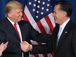 Businessman and real estate developer Donald Trump (L) greets U.S. Republican presidential candidate and former Massachusetts Governor Mitt Romney after endorsing his candidacy for president at the Trump Hotel in Las Vegas, Nevada in this February 2, 2012 file photo. Romney gave a blistering rebuke of 2016 Republican front-runner Donald Trump on March 3, 2016, leading an attempt by the party establishment to halt the rise of the outspoken New York billionaire. REUTERS/Steve Marcus/Files
