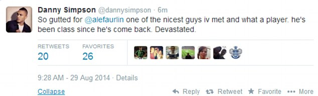Support: QPR defender Danny Simpson expresses his sadness at the news of Faurlin's latest injury