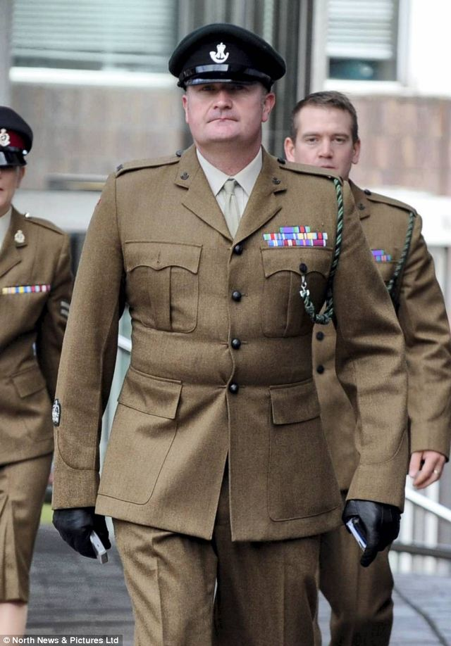 Sargeant Major John Pepper, arrives to give evidence to the inquest, in Sunderland