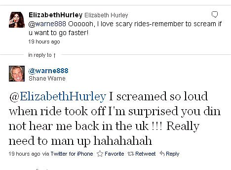 In a spin?: The bowling legend and the model regularly Tweet each other in public before their thousands of followers