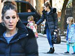 149053, EXCLUSIVE: Jessica Parker and her adorable daughters Tabitha and Marion are seen leaving home in West Village, NYC. New York - Saturday march 5, 2016. Photograph: © PacificCoastNews. Los Angeles Office: +1 310.822.0419 sales@pacificcoastnews.com FEE MUST BE AGREED PRIOR TO USAGE