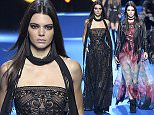 Mandatory Credit: Photo by Giovanni Giannoni/WWD/REX/Shutterstock (5609754b) Kendall Jenner on the catwalk Elie Saab show, Runway, Autumn Winter 2016, Paris Fashion Week, France - 05 Mar 2016