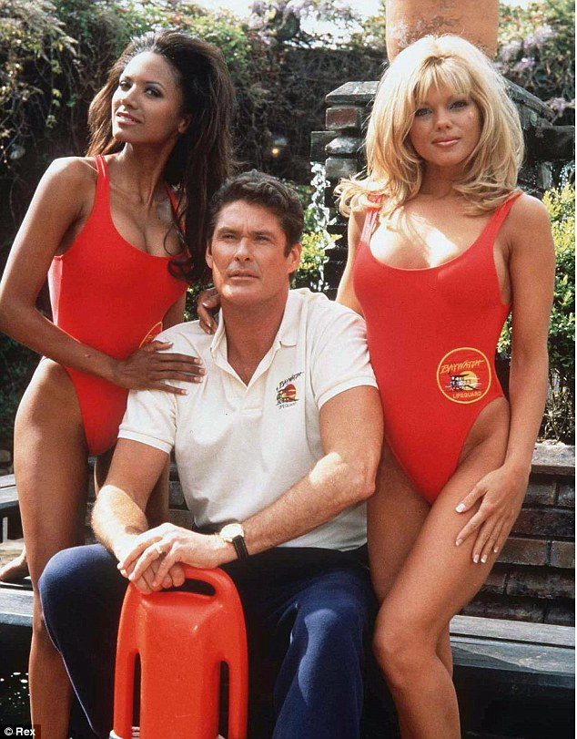 Lifeguards: Traci Bingham and David Hasselhoff posed with Donna for a promotional photo