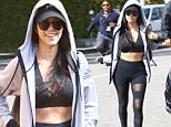 7.March.2016 - Beverly Hills - USA\n*** STRICTLY AVAILABLE FOR UK AND GERMANY USE ONLY ***\nBeverly Hills, CA - Kourtney Kardashian shows off her fab abs as she heads into Il Pastaio. The reality TV star looks super sporty and shows off her abs in a black sports bra, black sheer cut out leggings, and a grey hoodie. At one point Kourtney is seen sucking on her perhaps sore thumb.\nBYLINE MUST READ : AKM-GSI-XPOSURE\n***UK CLIENTS - PICTURES CONTAINING CHILDREN PLEASE PIXELATE FACE PRIOR TO PUBLICATION ***\n*UK CLIENTS MUST CALL PRIOR TO TV OR ONLINE USAGE PLEASE TELEPHONE 0208 344 2007*\n