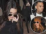 Kendall Jenner, Chris Brown and Hailey Baldwin leave the Avenue restaurant during Paris Fashion Week. 3/6/2016  Pictured: Kendall Jenner Ref: SPL1241984  060316   Picture by: KCS Presse / Splash News  Splash News and Pictures Los Angeles: 310-821-2666 New York: 212-619-2666 London: 870-934-2666 photodesk@splashnews.com