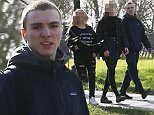 EXCLUSIVE ALL ROUNDER Rocco Ritchie strolling in the park with friends \n4 March 2016.\nPlease byline: Vantagenews.com