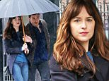 Vancouver, BC - Jamie Dornan shoots a  scene with co-star Dakota Johnson in the torrential rain in the Gastown District of Vancouver. The on-screen couple was seen kissing in the first photos from set earlier last week.\nAKM-GSI         March 7, 2016\nTo License These Photos, Please Contact :\nSteve Ginsburg\n(310) 505-8447\n(323) 423-9397\nsteve@akmgsi.com\nsales@akmgsi.com\nor\nMaria Buda\n(917) 242-1505\nmbuda@akmgsi.com\nginsburgspalyinc@gmail.com