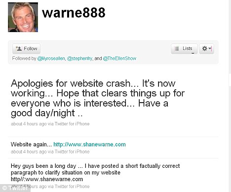 Clearing things up: Warne directed his Twitter followers to a 'factually correct' statement about his marriage on his website, but made no mention of Hurley