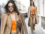PARIS, FRANCE - MARCH 08:  Alessandra Ambosio is wearing a coat from Ports, pants and a the top and a bag from Versace ,shoes from Christian Louboutin seen in the streets of Paris on March 8, 2016 in Paris, France.  (Photo by Timur Emek/GC Images)