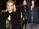 """Lara Stone and Karlie Kloss arriving at the """"Grand Colbert"""" restaurant in Paris, France, on March 7th 2016. 8 March 2016. Please byline: Vantagenews.com"""