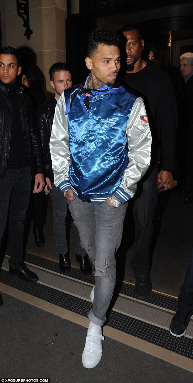 Look who's here: Kendall and Hailey's pal Chris Brown was also spotted leaving the venue in the early hours