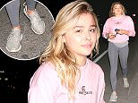 7.March.2016 - Brentwood - USA ***AVAILABLE FOR UK AND GERMANY SALE ONLY *** *EXCLUSIVE ALL ROUND PICTURES*  Chloe Grace Moretz smiles wide as she leaves a sushi dinner with friends at Katsuya Brentwood. She looked sporty in a pink sweater and grey leggings. The 'Carrie' star also wore a pair of Adidas Yeezy Boost 350s, an interesting choice following her Twitter beef with Kim Kardashian. BYLINE MUST READ: AKM-GSI-XPOSURE ***UK CLIENTS - PICTURES CONTAINING CHILDREN PLEASE PIXELATE FACE PRIOR TO PUBLICATION *** *UK CLIENTS MUST CALL PRIOR TO TV OR ONLINE USAGE PLEASE TELEPHONE 0208 344 2007*